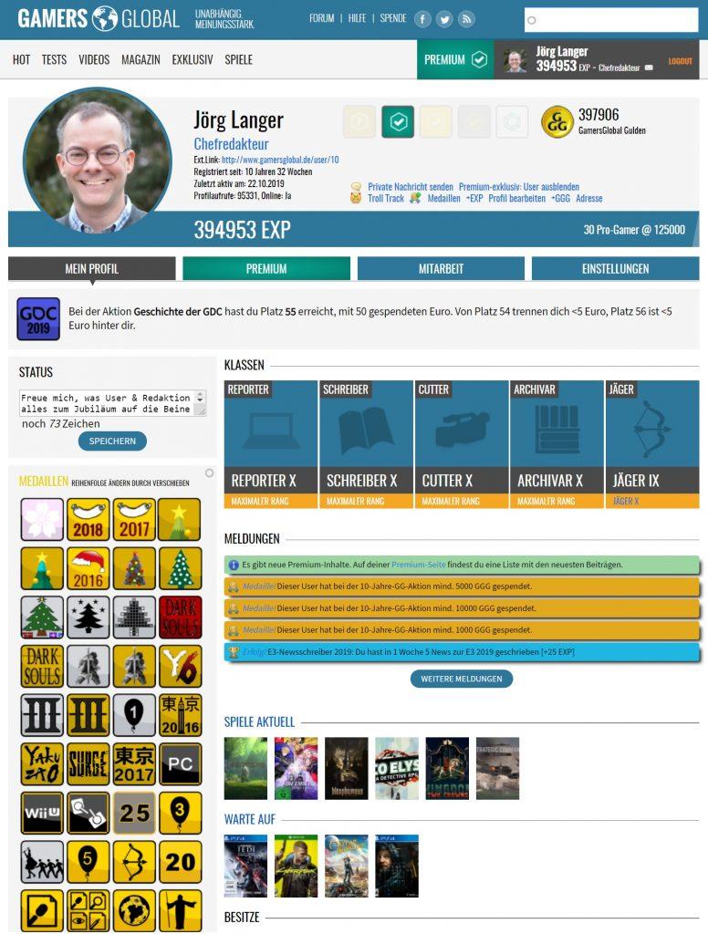 User-Profil von Jörg Langer | Bild: Screenshot